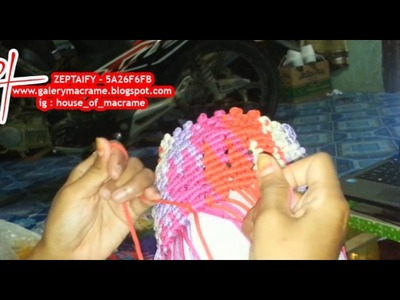 Project macrame bag   how to make macrame wallet motif lightning  by zeptaifyx