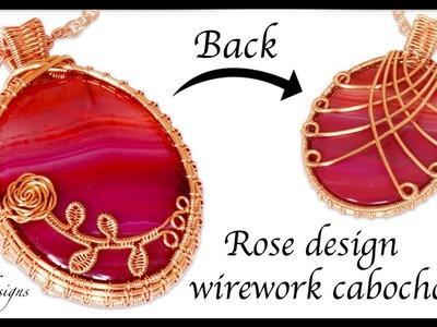 Rose design wirework cabochon