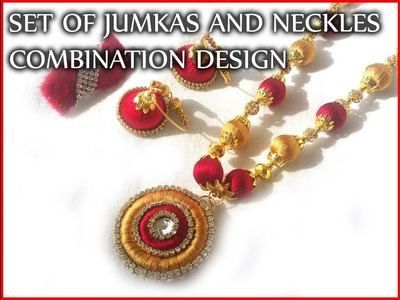 Set of silk thread  jhumkas and neckles with saree clip combination