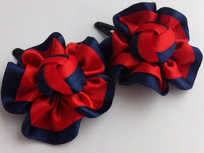 The decoration on the hairpin Kanzashi. Red-blue flower