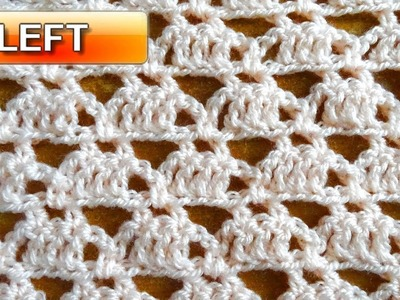 Triangle Crochet Stitch - Left handed Crochet tutorial