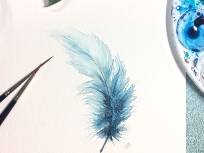 Watercolor Blue Feather Real Time Painting Demonstration