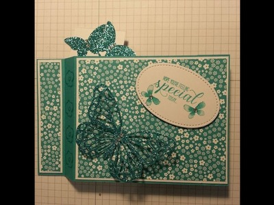 Wiper card using  garden in bloom and elegant butterfly stampin up