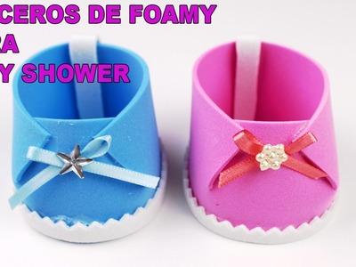 ZAPATITOS DULCEROS EN FOAMY PARA BABY SHOWER DE NIÑA Y NIÑO. Baby Shower souvenirs DIY
