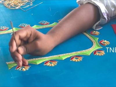Zardozi embroidery blouse designs || hand embroidery tutorial for beginners, hand embroidery designs