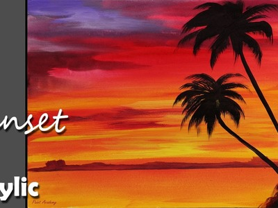 Acrylic Painting : A Sunset in Acrylic Color | Episode-1