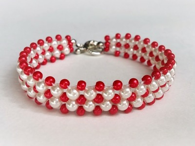 Beaded beads pattern . How to make a simple bracelet