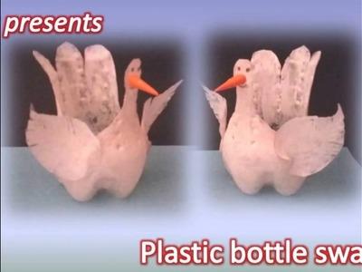 Best out of the waste plastic bottlle pet holder.bottle swan for kids crafts