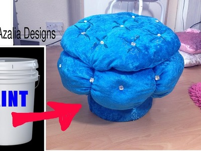 Creative way to Reuse.Recycle -paint bucket to stool.ottoman.