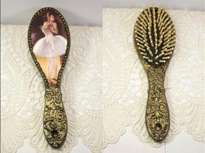 Decoupage lesson for beginners #43 - decoupage on wood hairbrush - DIY retro style hair brush print
