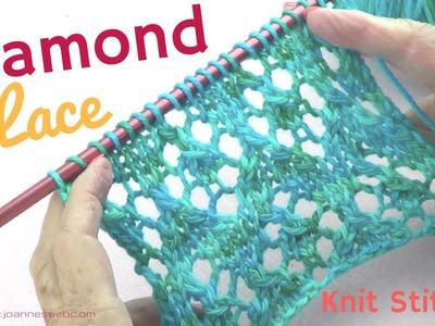 Diamond Lace Knit Stitch - Diamond Knitting Pattern - Rhombus Knitted Instructions
