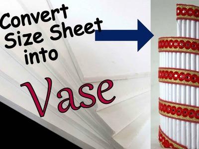 DIY A4 Size Sheet Vase I How to make paper vase at home I Easy I Best out of waste I CD
