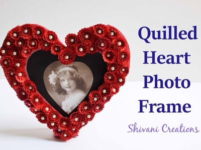 DIY Heart Photo Frame. How to make Quilled Photo Frame. Love Photo Frame