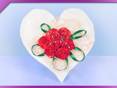 DIY How to make cold porcelain heart and ribbon roses (ENG Subtitles) - Speed up #369