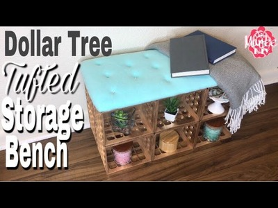 Dollar Tree DIY Tufted Storage Bench
