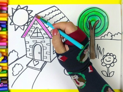 Drawing Country House Coloring Page for Children and Coloring for Kids to Learn to Color