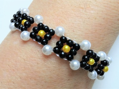 Easy beading pattern. How to make a bracelet-beginners DIY jewelry