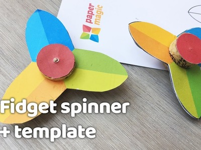 Easy DIY paper Fidget Spinner for kids to do at home - TEMPLATE - No special materials