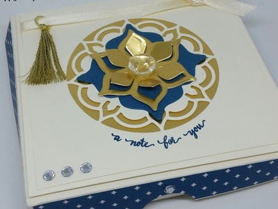 """Elegant Eastern Palace Gift Box For 4"""" x 4"""" Note Cards & Envelopes"""