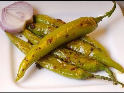 Fodni Mirchi - Tempered Green Chillies - By Vahchef @ Vahrehvah.com
