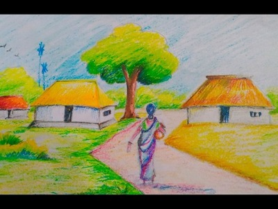 How to draw a beautiful village scenery for kids.Easy drawing tutorial