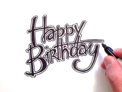 How to Draw Happy Birthday in Cursive