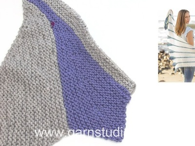 How to knit garter stitch shawl with leaves, worked sideways