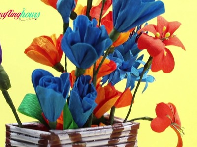 How to Make a Beautiful Flower Vase with Old Newspaper and Cardboard | CraftingHours
