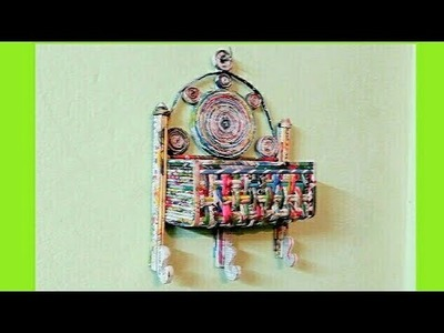 How to make a newspaper Wall basket and Key Holder (UNIQUE)