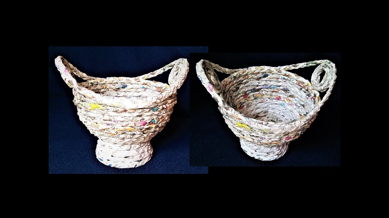 How to make basket from newspaper best out of waste diy for Best out of waste with paper