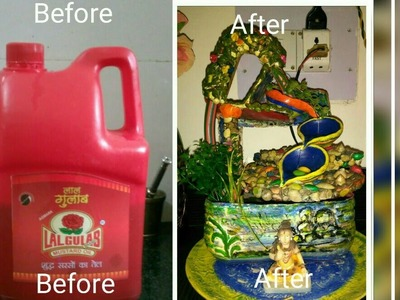 How to make Indoor Water Fountain with 5liter mustard oil jar