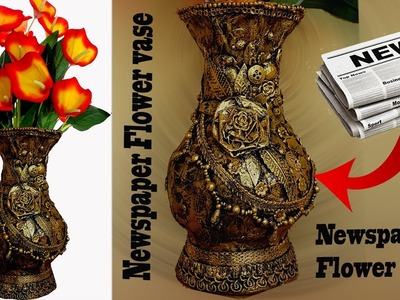 How to make newspaper flower vase-altered vase-Best from waste-Flower pot