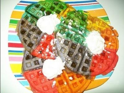 How to make Rainbow.Tie Dye waffles