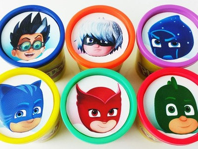 Learn colors for kids Play Doh Cups Stacking Pj Masks Catboy Gekko Owlette Toys for Children