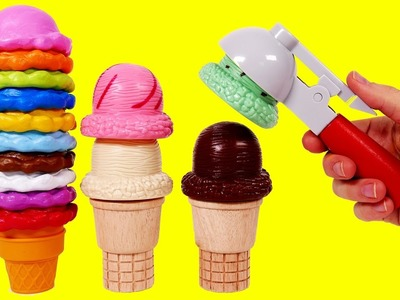 Learn Colors Ice Cream Toy Playset for Children Compilation Learning Video for Kids