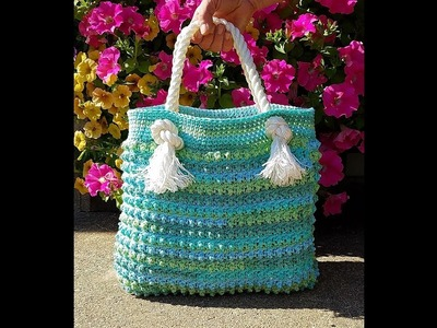 Learn How To Crochet Blue Ocean Breeze Summer Beach Bag TUTORIAL #397