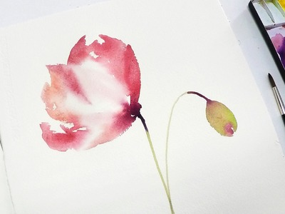 [LVL2] Poppy Watercolor Painting for Beginners #2