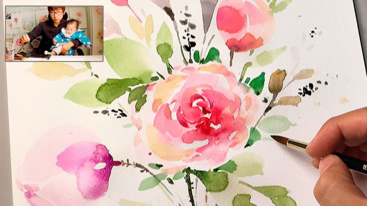 Lvl4 how to paint flowers with watercolor step by step for How to paint a rose in watercolor step by step