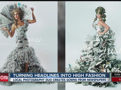 Mom makes high-fashion gowns from newspapers