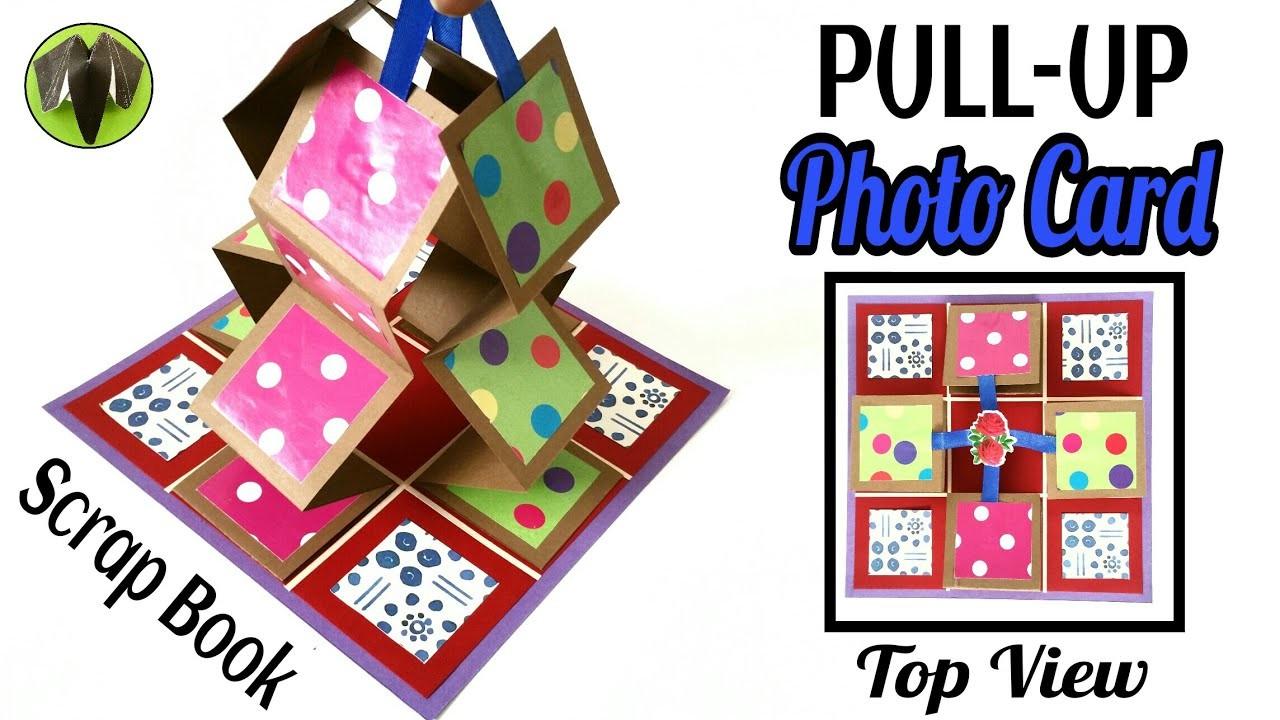pullup photo accordion card for scrap book  diy tutorial