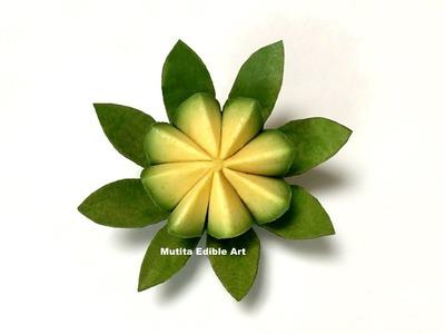Simple Avocado Vegetable Lotus Flower   Beginners Lesson 139   By Mutita Art Of Fruit & Vegetable Ca