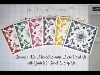 Stampin'Up Monochromatic One Layer Note card set with Retiring Products