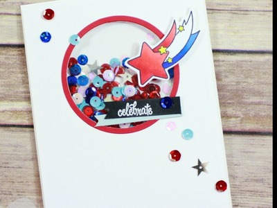 Stars & Sequins Shaker Card HAPPY 4th of July
