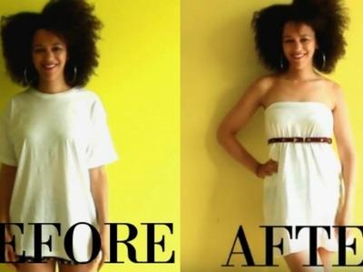 T-SHIRT TO DIY T-SHIRT DRESS IN 1MIN | T shirt Transformation Ep 5