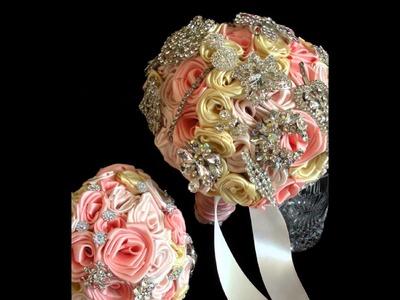 The Christine Custom Satin Brooch Bridal Bouquet