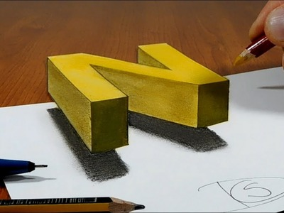 Try to do 3D Trick Art on Paper, floating letter N