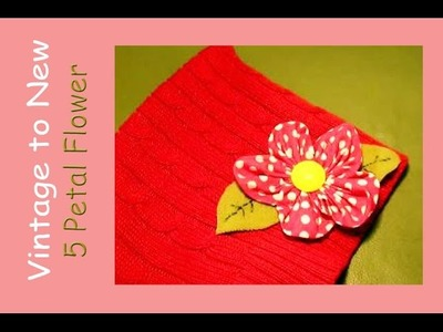Tutorial flower with 5 petals and leaves