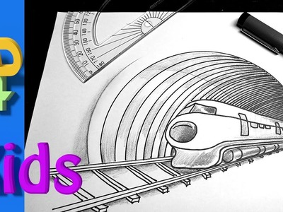 Very easy !  3D trick art drawing for kids  how to draw a Speeding TRAIN and Tunnel