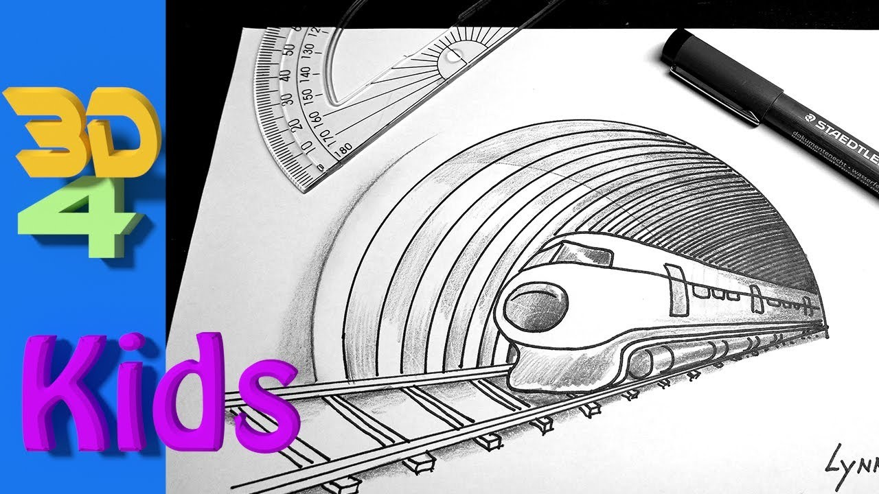 Very Easy 3d Trick Art Drawing For Kids How To Draw A Speeding
