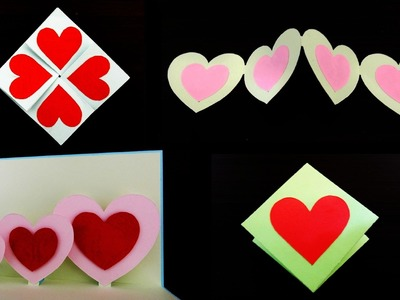 4 simple and easy greeting love cards by template - EzyCraft